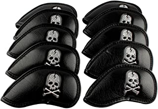 Craftsman Golf 6000081 10pcs Black Skull Thick Pu Synthetic Leather Golf Iron Head Covers Set Headcover Skull Fit All Brands Titleist, Callaway, Ping, Taylormade, Cobra, Nike, Etc.