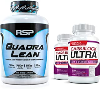 RSP QUADRALEAN 2.0 & 2X CARB Block Ultra Bundle: Professional Strength, Fat-Burning Powerhouse. Block Carbohydrates, Boost Metabolism & Energy, Inhibit Fat Production with The Best Weight Loss Pills