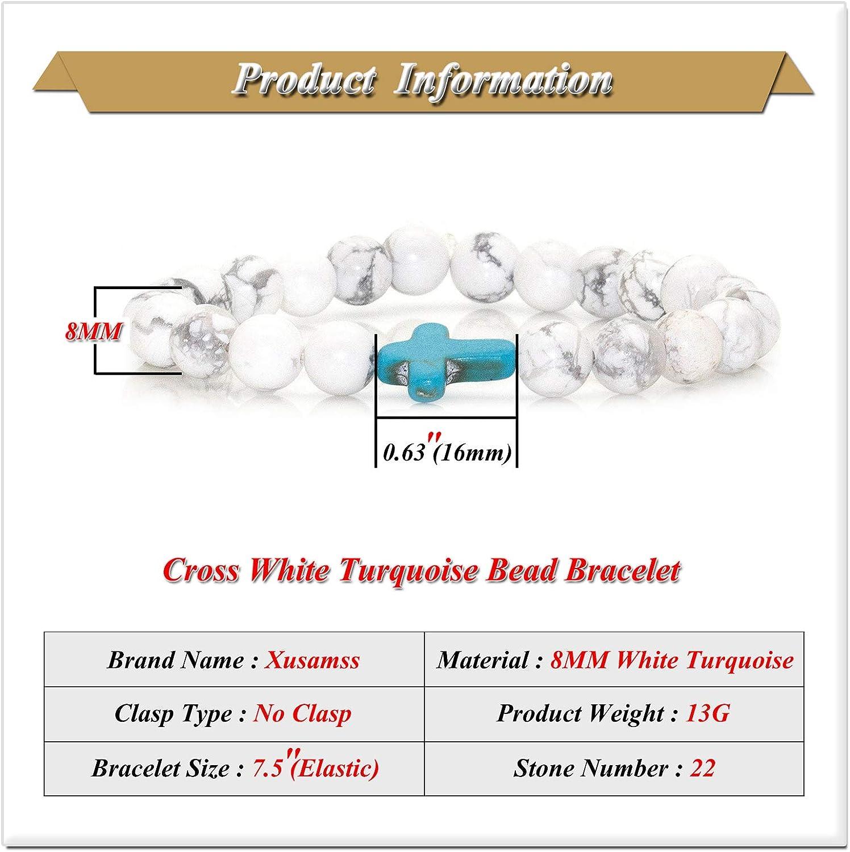 Xusamss Fashion Religious Cross Bracelet 8mm Tiger Eye Turquoise Beads Elastic Bracelet,7 1//2 Wrist