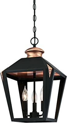 Westinghouse Lighting 6328500 Valley Forge Three-Light Indoor Pendant, Matte Black Finish with Copper Accents,