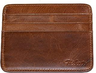 Hibate Vintage-Style Slim Leather Credit Card Holder Front Pocket Case for Men Women Bag Wallet - Brown