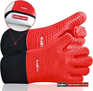 Walfos BBQ Grilling Gloves, Best Versatile Heat Resistant Grill Gloves Silicone Oven Mitts, Thick Long Waterproof Non-Slip Potholder for Barbecue, Cooking, Baking-Full Finger, Wrist Protection (Red)
