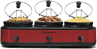 Elite Platinum EWMST-325R Maxi-Matic Triple Slow Cooker Buffet Server, Red