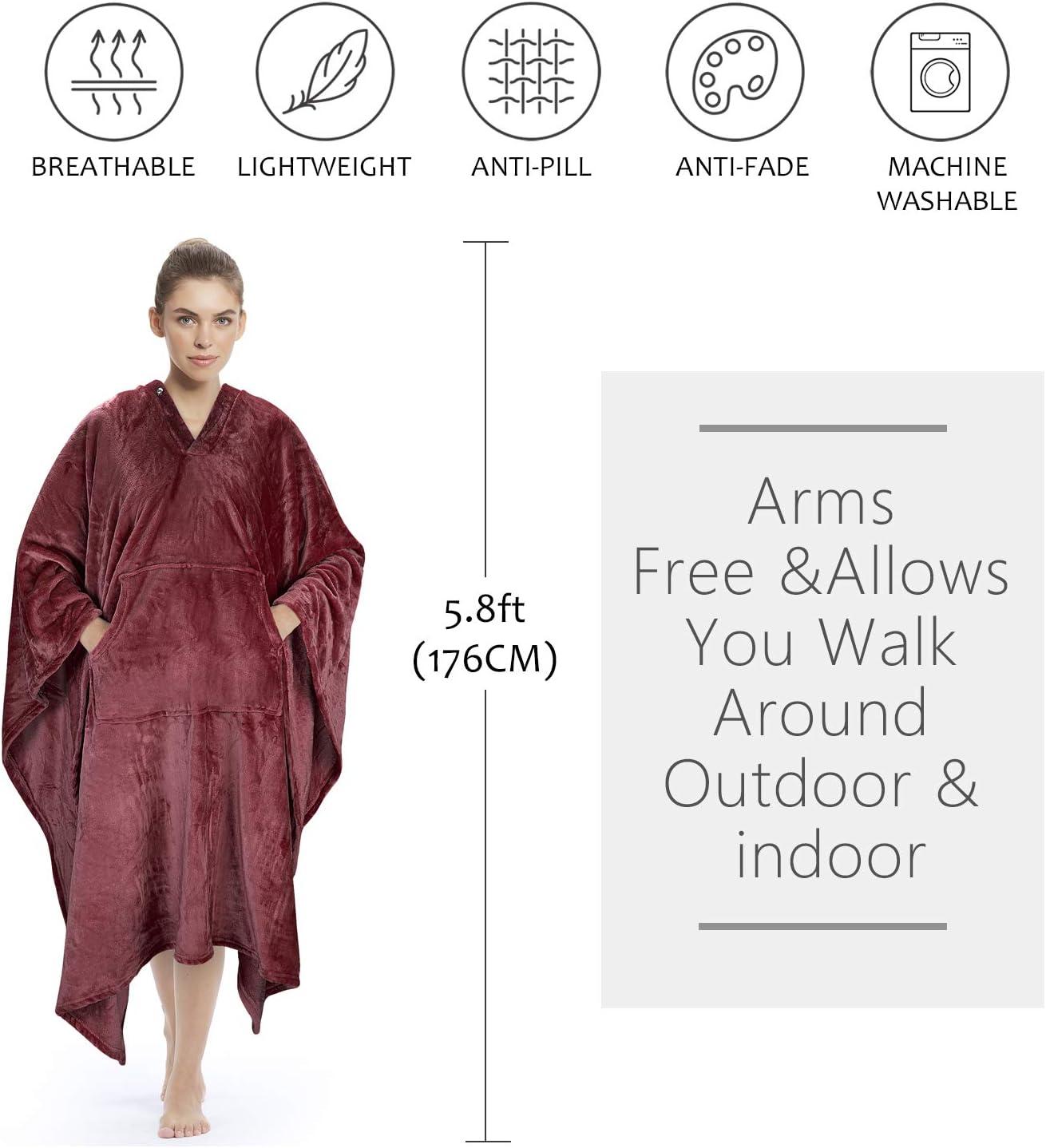 Catalonia Classy Poncho Decke Bequeme Pl/üsch Fleece Tragbare Decke f/ür Erwachsene Frauen M/änner Kinder /Überwurfbezug zu Hause oder im Freien 200 x 140 cm Marine