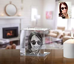 Personalized Laser Engraved Photo Glass Block, Custom Etched Crystal Cube Paperweight as a Birthday Present, Business Award or Friends Gift