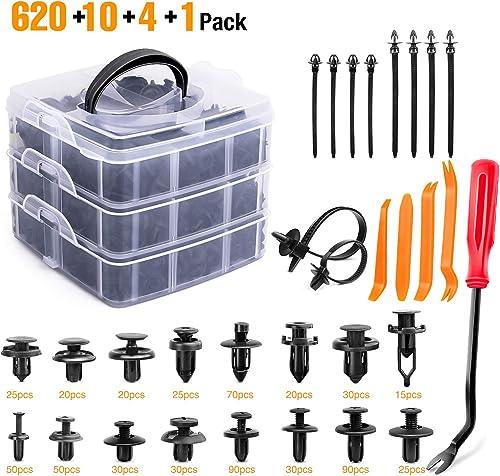 GOOACC 635Pcs Car Push Retainer Clips & Auto Fasteners Assortment -16 Most Popular Sizes Nylon Bumper Fender Rivets w...