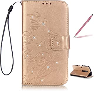 Trumpshop Smartphone Protective Case for Motorola Moto G 3rd Generation (2015) / Moto G3 (Diamond Series) + Gold + Ultra Silm Premium PU Leather Flip Wallet Cover Bookstyle Card Slots Shockproof