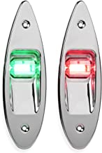 LEANINGTECH One Pair Marine Boat Yacht Light 12V Stainless Steel, Waterproof, LED Bow Navigation Lights Pontoons Sailing Signal Lights,Teardrop Bow Lights, Red and Green