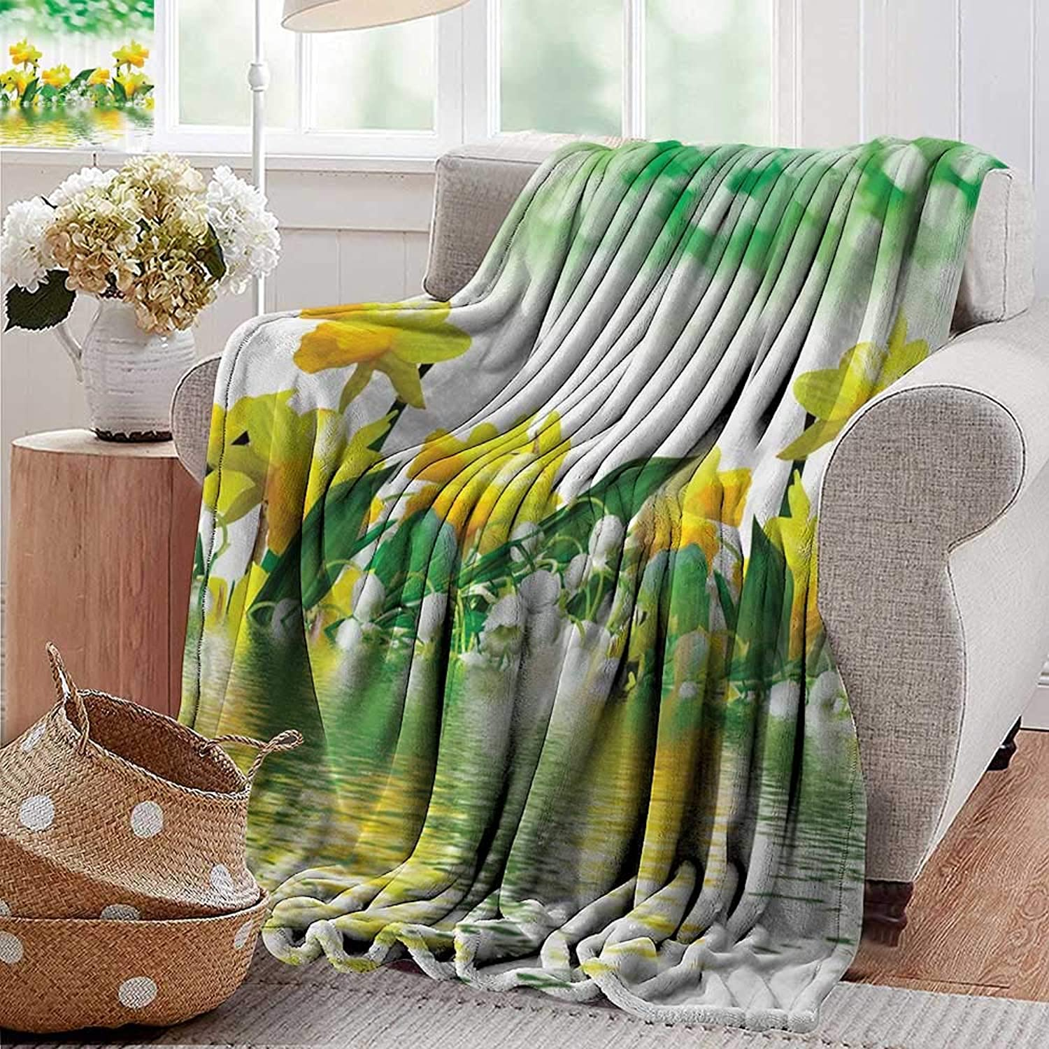 Weighted blanket for kids Gifts Daffodil Green Garden Fabric for Floral Decor in Yellow White and Green Reflection on Water Closeup Picture Flower Pattern Weighted Blanket for Adults Kids Better Deepe