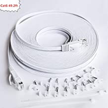 Cat 6 Ethernet Cable 49.2 ft White - Flat Internet Network LAN Patch Cord Short, Slim Cat6 High Speed Computer Wire with Snagless Rj45 Connectors for Router, PS4, Xobx,Modem, Faster Than CAT5E/Cat5