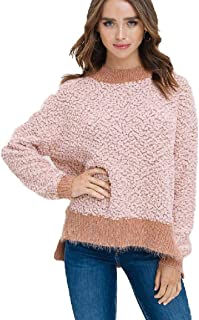 Listicle Two-Tone Popcorn and Soft Fur Pullover Sweater