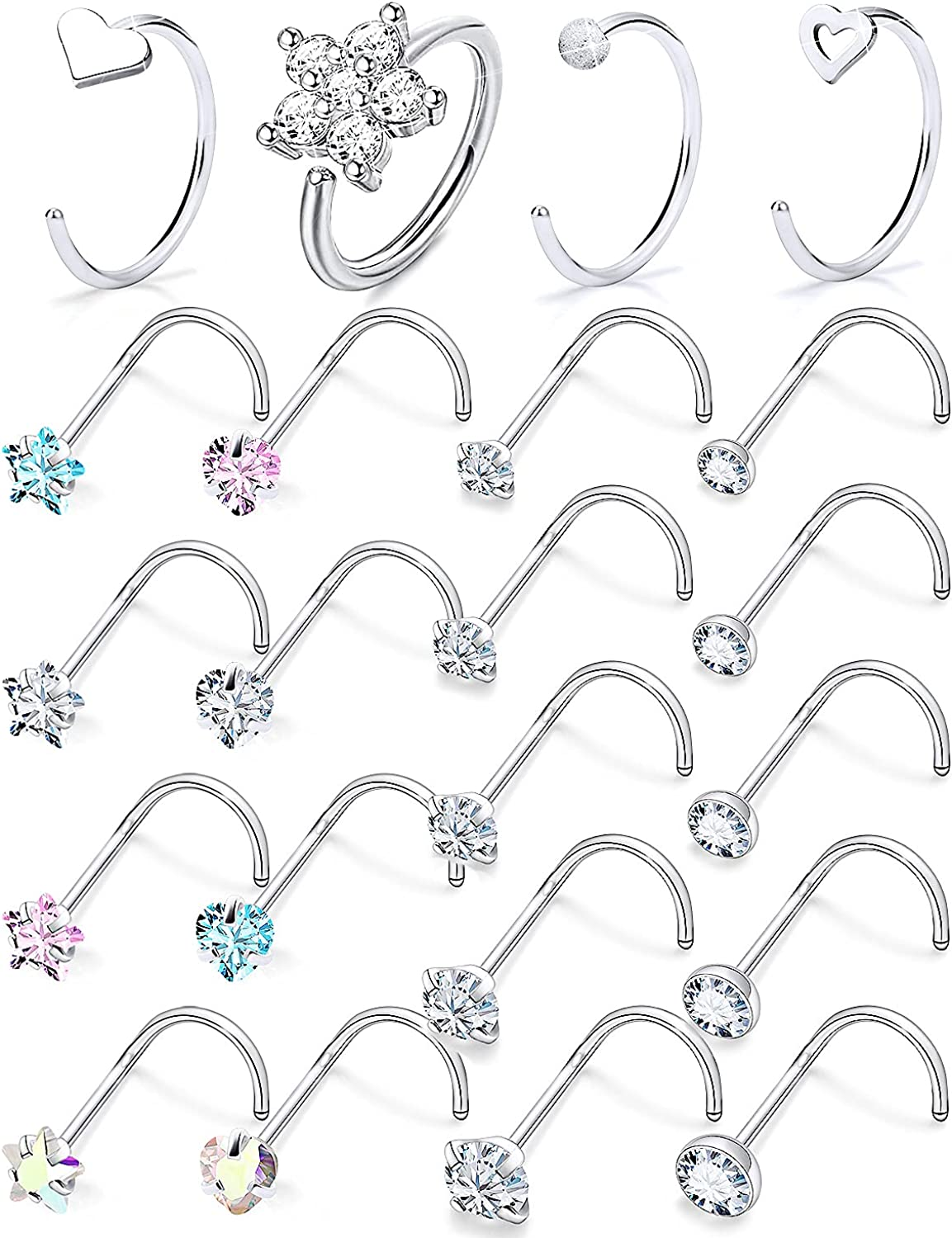 Boernfnso 20G Nose Rings Studs Surgical Stainless Steel Nose Hoo