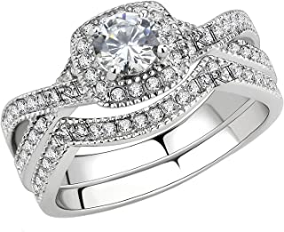 FlameReflection Stainless Steel Rings for Women Infinity Wedding Set Round CZ Cubic Zirconia Wedding Sets for Women Halo Engagement Rings for Women Bridal Jewelry Set (Choose with Stud Earrings)