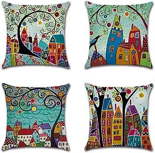 NEW6 Folk Art Cotton Linen Cushion Cover Throw Pillow Cases 18x18 Set of 4 Home Sofa Decor