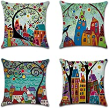 NEW6 Folk Art Cotton Linen Cushion Cover Throw Pillow Cases 18x18 Set of 4 Home Sofa Decor