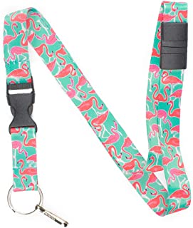 Limeloot Teal Flamingo Premium Lanyard with Breakaway, Release Buckle, and Flat Ring.
