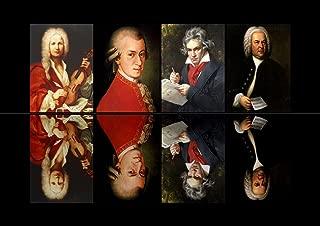 The Composers: Ludwig Van Beethoven/Wolfgang Amadeus Mozart/Johann Sebastian Bach/Antonio Lucio Vivaldi. Classical Music Art Print/Poster. (29.7cm x 21cm)