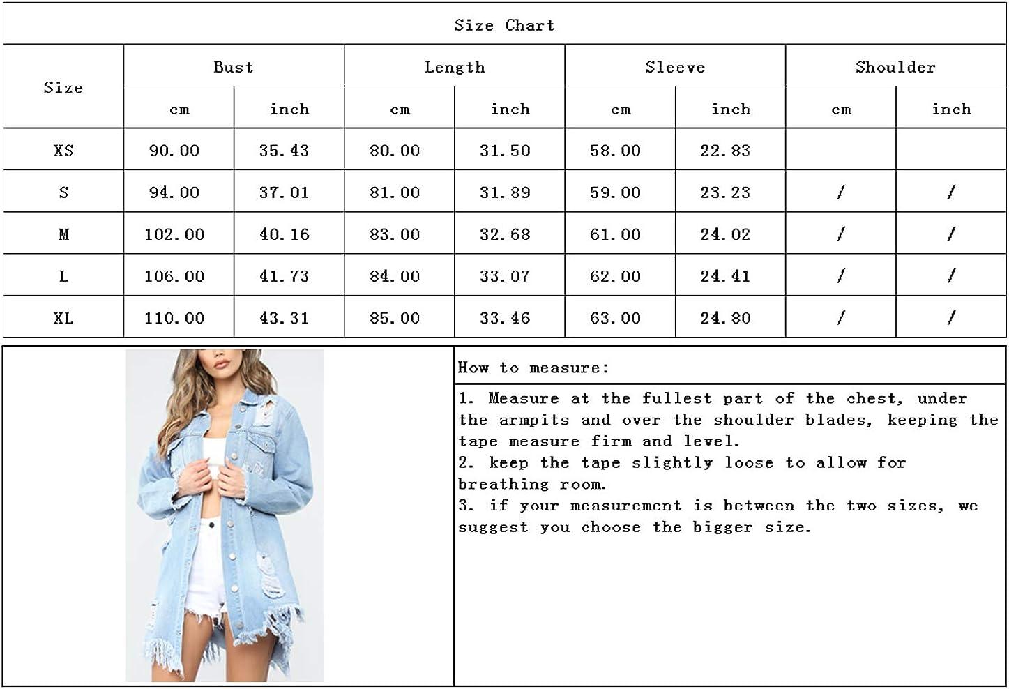 chouyaotu Women's Streetwear Ripped Hole Frayed Raw Hem Long Denim Jacket Coat