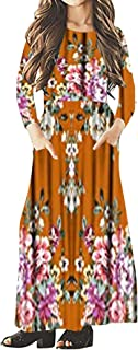 Girls Long Sleeve Dresses Maxi Dress Floral Casual T-Shirt with Pocket Holiday Swing for Girl's 4-16Years