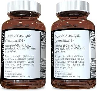 Double Strength Glutathione 1000mg x 120 Tablets (60 tablets per bottle, 2 bottles). With 500mg Glutathione, 300mg ALA, and 200mg Vitamin C per tablet. 200% stronger than regular glutathione tablets. SKU: GLU3x2