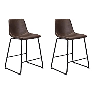 CangLong Mid Century Modern Style PU Leather Bar Stools Rustic Barstools with Back and Footrest, Kitchen Bar Height Stool ...