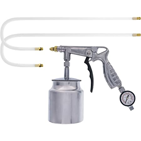 """TCP Global Air Rust Proofing and Undercoating Gun with Gauge & Suction Feed Cup - Includes 22"""" Long Flexible Extension Wand with Multi-Directional Nozzle - Spray Truck Bed Liner, Rubberized Undercoat"""