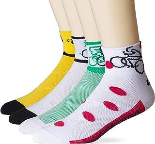 Cycling Socks Coolmax Bike Socks Yellow Green White Red Polka Dots Running Hiking Biking Socks 4 Pack