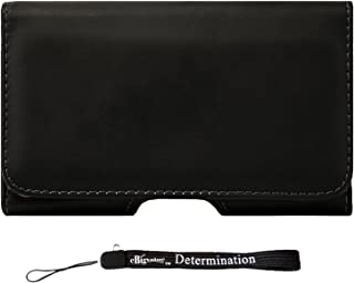 BlackBerry Leap, Priv Case, Horizontal Protective Leather Hip Holster,Black, (CEL331) and eBigValue HandStrap