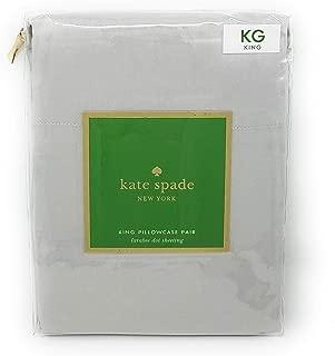 Kate Spade Larabee Dot Pillowcase Pair, KING Size, Dove Grey/Beige