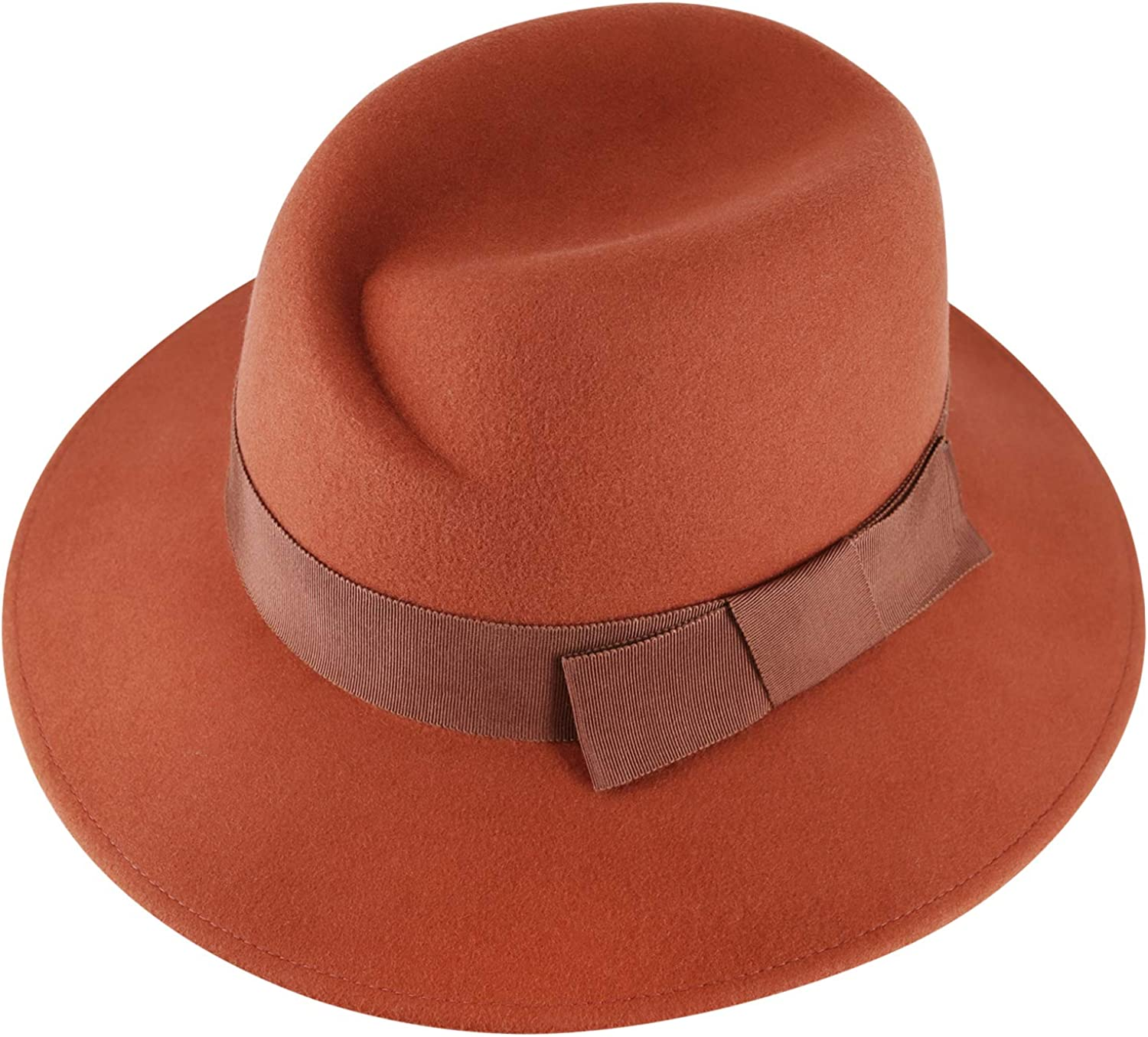 Fedora Hats for Women and Men with Soft Hat Brush 100% Wool Wide Brim Felt Hat Sun Hats for Fall Winter