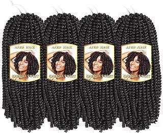 4 Pack Spring Twist Crochet Braid Bomb Twist Crochet Hair Braiding Ombre Colors Kanekalon Synthetic Fluffy Hair Extensions Low Temperature Fiber (12 Inch, 2#)