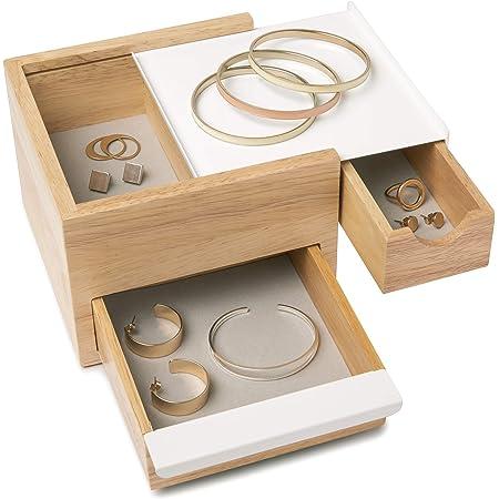 UMBRA Mini Stowit white. Coffret à bijoux - Rangement moderne pour objets et souvenirs avec tiroirs à compartiments cachés pour bagues, bracelets, montres, colliers, boucles d'oreilles et accessoires