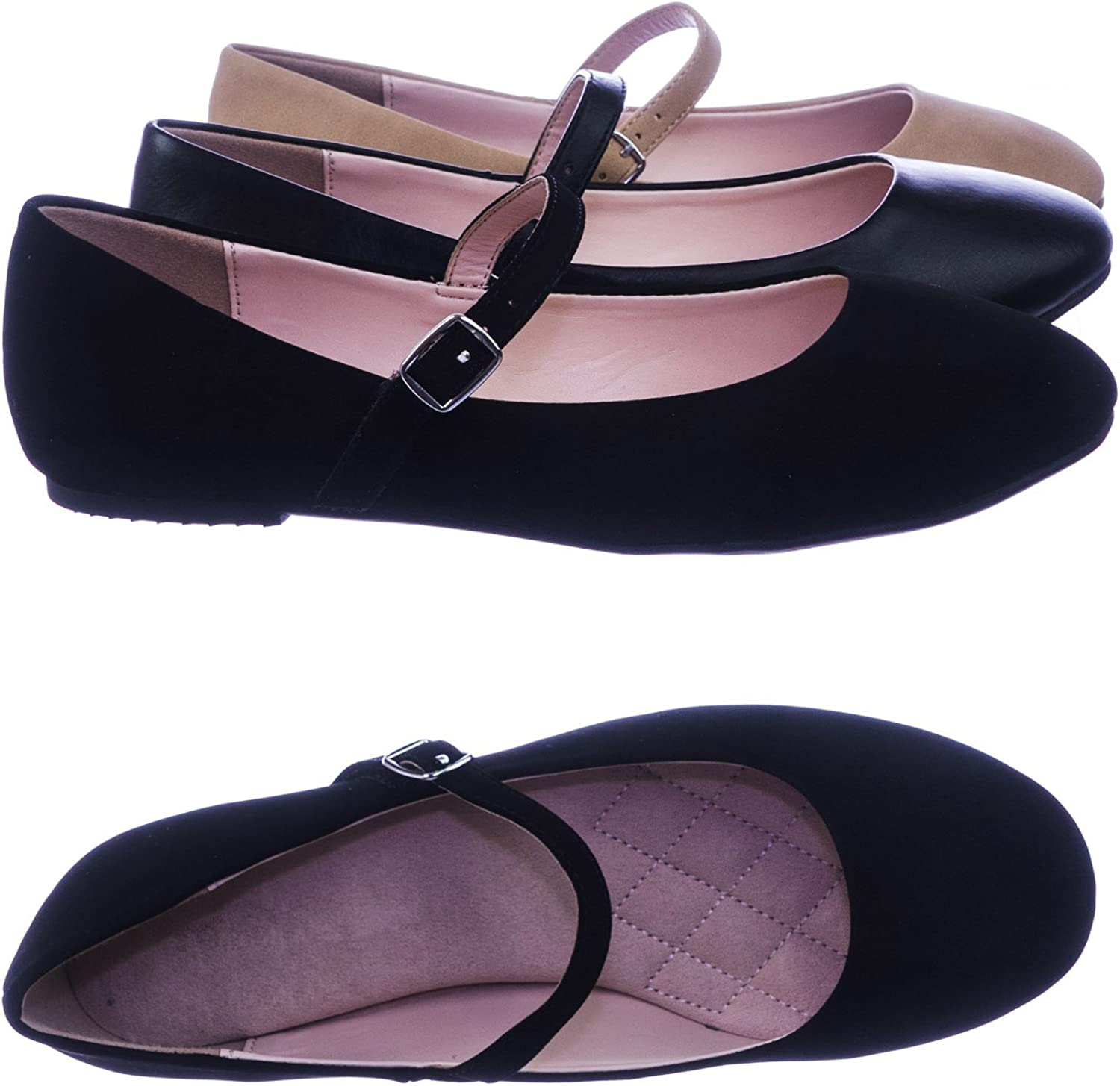 City Classified Women Comfortable Padded Mary-Jane Round Toe Ballet Ballarina Flats