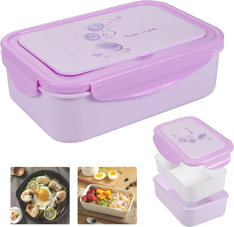 Bento Box Hermetico, Lunch Bento Box con 3 Compartimentos y Cubiertos, Fiambreras bento, Fiambrera infantil adecuada para hornos de microondas y lavavajillas(1300 ML)