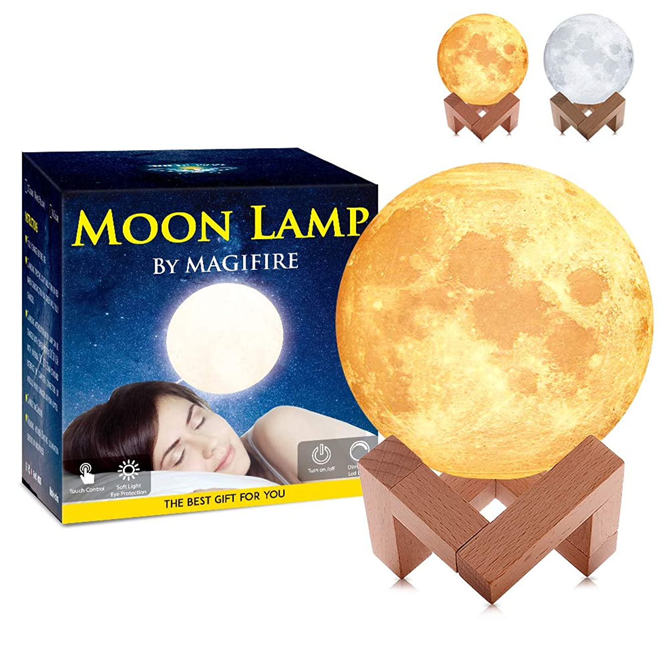 MAGIFIRE Moon Lamp, Touch&Tap Control - 3.9