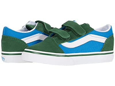 Vans Kids Old Skool V (Infant/Toddler) ((Two-Tone) Mediterranian Blue/Greener Pastures) Boys Shoes
