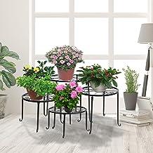 4X Plant Stand Outdoor Indoor Metal Black Flower Pot Garden Decor Rack Round AU