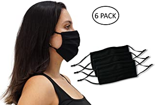 6 Pack Unisex Reusable Pleated Fabric Face Mask with Adjustable Elastic, 2 Layers, Washable, Nose Wire (Size OS, 6 Pack)