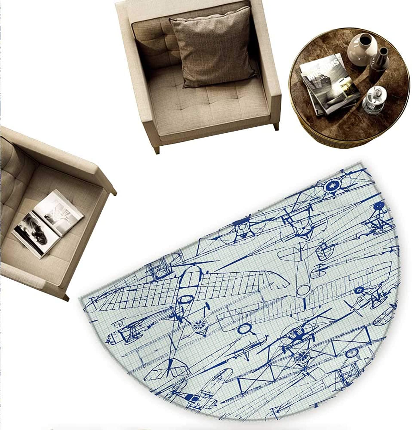 Airplane Semicircle Doormat Old Airplane Drawings Classic Dated Flight Vintage Style Nostalgic Jets Halfmoon doormats H 74.8  xD 112.2  purple bluee Turquoise