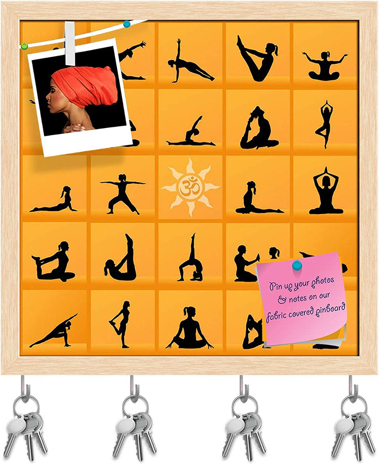 Artzfolio Yoga Poses D2 Key Holder Hooks   Notice Pin Board   Natural Brown Frame 16.2 X 16Inch