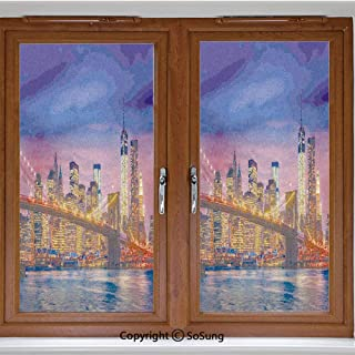 24x42 inch Window Privacy Film,NYC That Never Sleeps Image Neon Lights Reflections on East River City Image Print Non-Adhesive Static Cling Frosted Window Film,Window Stickers for Kids Home Office