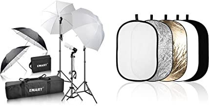 Emart 600W Photography Photo Video Portrait Studio Day Light Umbrella Continuous Lighting Kit with 60cm x 90cm/24' x 36' Oval 5-in-1 Portable Multi Collapsible Disc Lighting Reflector