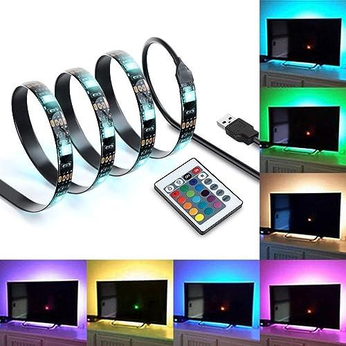 """IREGRO Ruban à LED 2M 60LED RGB Imperméable Muliticolore avec un Contrôleur Led Ruban pour 40""""-60"""" TV, Moniteurs de Bureau, Placards de Cuisine avec Télécommande 24 Keys"""
