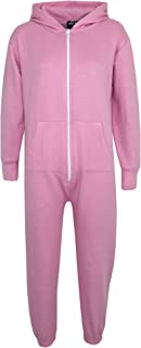 Kids Girls Boys Plain Color Fleece Hooded Onesie All in One Jumpsuit 5-13 Years