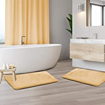 "Memory Foam Bathrug 2 Pack Set - Beige (Cream) - Bath Mat and Shower Rug Small 17"" x 24"" Inches, Non Slip Latex Free Plush..."