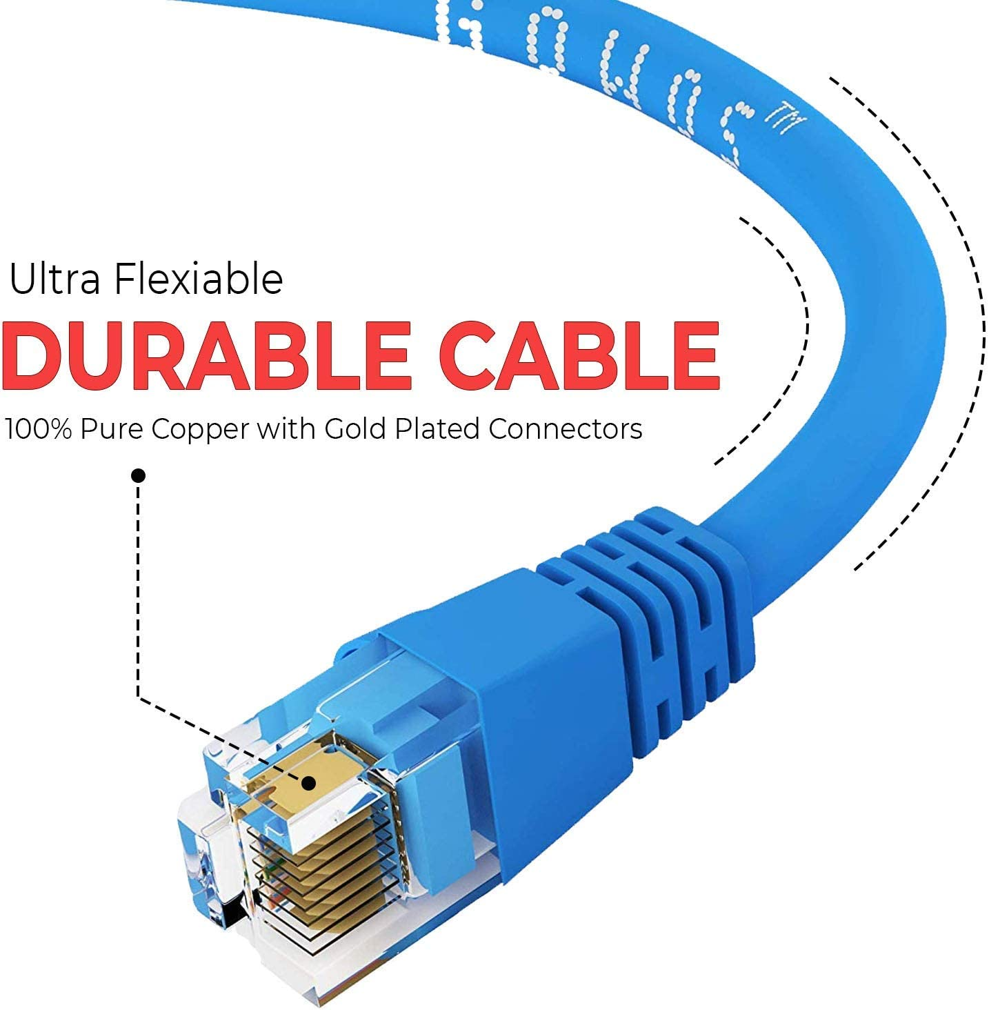 RJ45 10Gbps High Speed LAN Internet Patch Cord GOWOS 5-Pack Available in 28 Lengths and 10 Colors Cat5e Ethernet Cable 6 Feet - Blue UTP Computer Network Cable with Snagless Connector