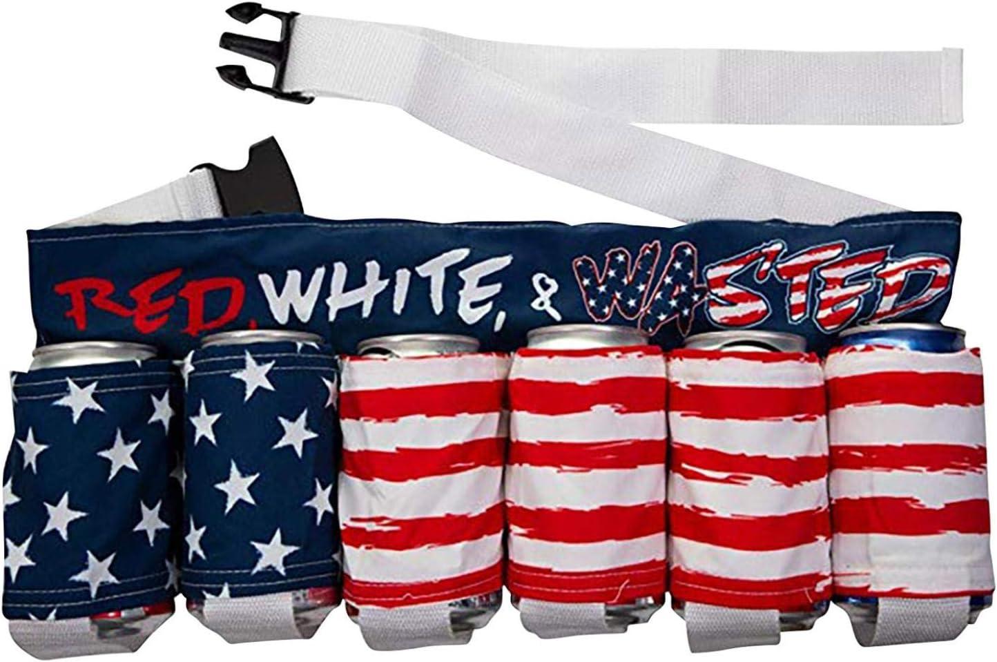 Independence Day Themed Beer Belt, Bottle Can Holder Drink Holder Beverage Belt for 6 Cold Beers Oxford Cloth Drink Belt with Adjustable Waist Strap Zipper Pocket for Parties, Camping, Barbeque (C)