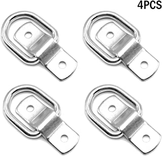 Amadget Pack of 4 D-Ring Tie Down Rings Load Anchor, Surface Floor Mount D-Rings Trailer Tie Downs 1200lbs Capacity D-Ring Bracket, Mounting Plate Tie Down Points for Ratchet Car Truck Bed Cargo