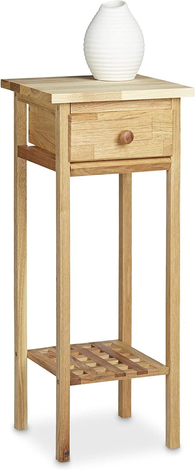 Relaxdays Walnut Telephone Table, 60 x 25 x 25 cm Side Table End Table with Drawer, Console Table Wooden Plant Stand 60 cm Tall Flower Table, Natural