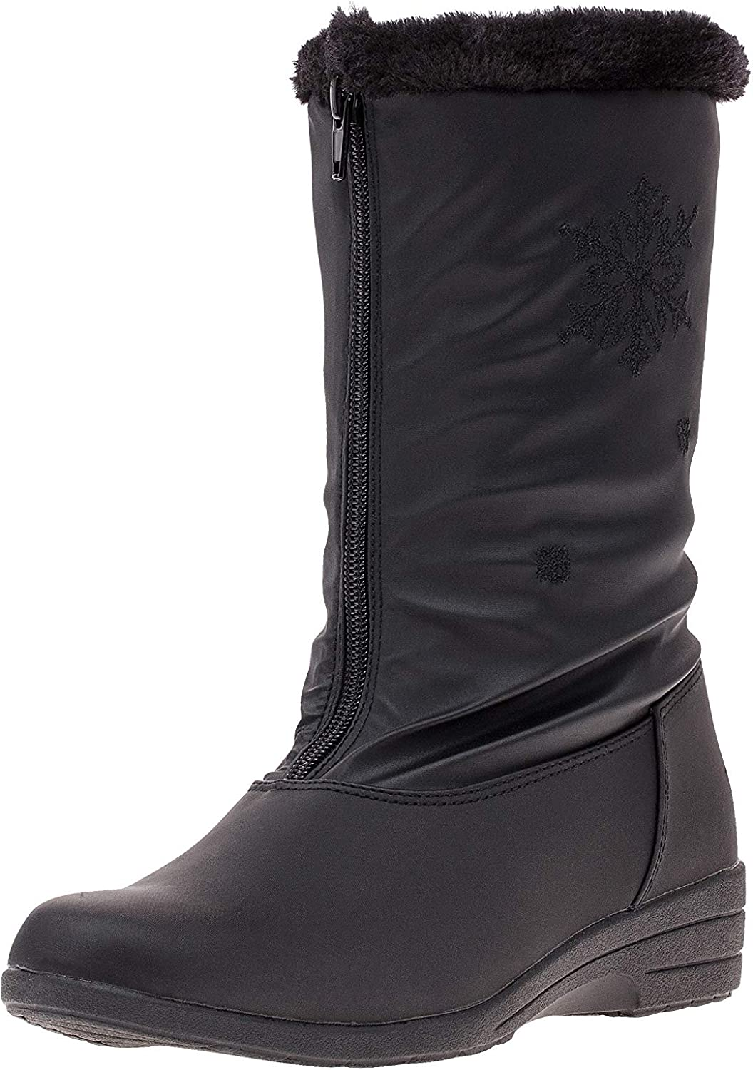 Boston Accents Womens Cold Weather Boots with Front Zipper & Snowflake Accent (Snow) Waterproof Insulated Mid-Calf Winter Boots, Keeps Feet Warm & Dry